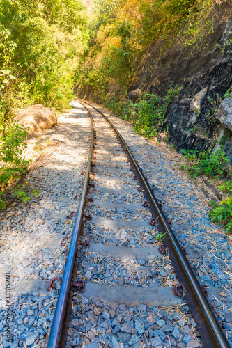 Fotografie, Tablou The Death Railway crossing kwai river in Kanchanaburi Thailand