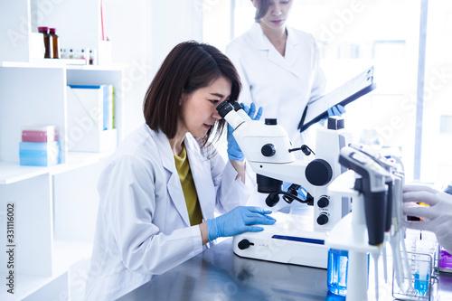 Fototapeta 顕微鏡を覗き込む女性研究員
