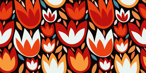 Ethnic floral pattern with abstract Tulip flowers, leaves on a dark (black) background. Stylized folk onament with plant elements. Hand-drawn Botanical texture. Vector template for prints, covers...