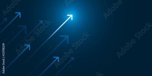 Up light arrow on dark blue background with copy space, business growth concept. - fototapety na wymiar