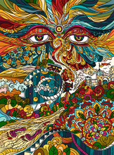 Illustration Buddhist Symbol Eyes Of The All-seeing God Watching The World From The Absolute With Love And Compassion.