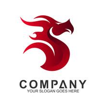 Red Dragon Logo Design Abstract