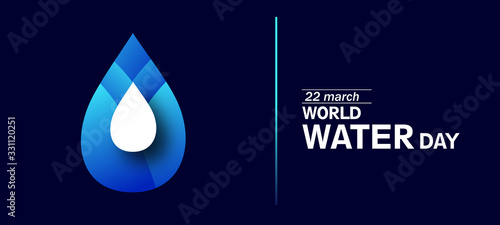 Obraz World Water Day - vector abstract waterdrop concept. Save the water - ecology concept background with paper cut water drop - fototapety do salonu
