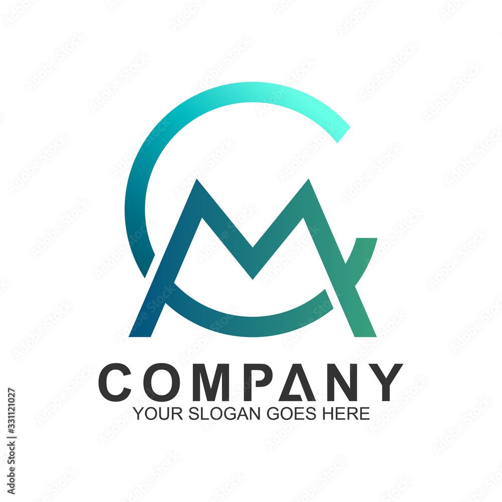 Fototapeta CM/MC Logo,Vector Logo Letter C And Letter M In Unity,Letter Combination Business Logo Template