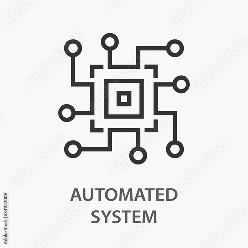 Photo Automated system line icon on white background.
