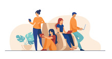 Digital Device Users Spending Time Together. Group Of Men And Women Using Laptop Computers, Tablet, Smartphone. Vector Illustration For Web Browsing, Internet Surfing, Public Access Concept