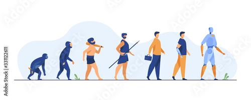 Human evolution from monkey to cyborg Tapéta, Fotótapéta