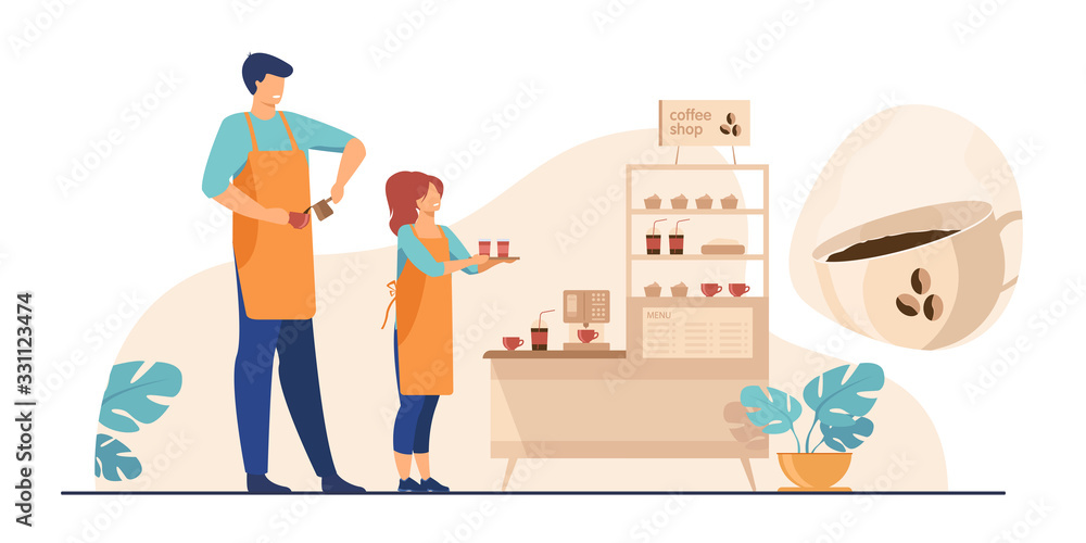 Fototapeta Baristas in coffee shop. Man and woman in aprons making coffee, offering takeaway cup at stand with machine and dessert. Vector illustration for coffee station, food and drink, cafe concept