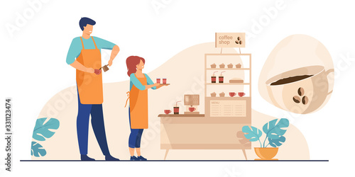 Fototapeta Baristas in coffee shop. Man and woman in aprons making coffee, offering takeaway cup at stand with machine and dessert. Vector illustration for coffee station, food and drink, cafe concept obraz