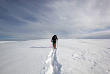 Climber Man Walking In The Snow