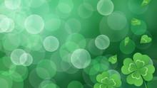 四つ葉のクローバーのイラスト_緑のキラキラ背景_16:9
