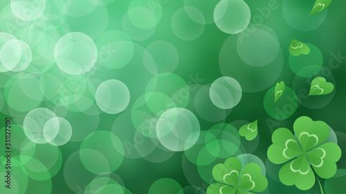 Valokuva 四つ葉のクローバーのイラスト_緑のキラキラ背景_16:9