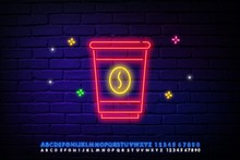 Coffee Neon Sign Logo Vector Illustration, Emblem In Neon Style, Bright Night Sign, Night Advertisement Of Coffee