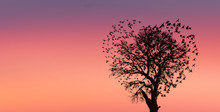 Silhouettes Of Flying Birds (in Shape Of Heart)with Dead Tree At Amazing  Sunset