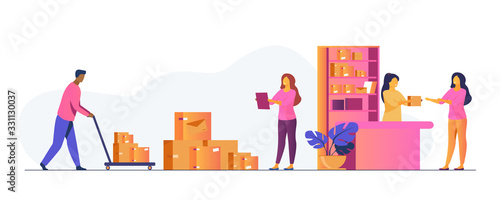 Obraz Postman giving parcel to customer in post office. Courier removing boxes from handcart. Vector illustration for shipping, delivery, logistic service concept - fototapety do salonu