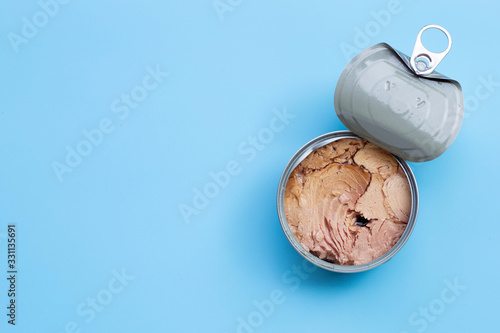 Canned tuna fish on white background. Wallpaper Mural