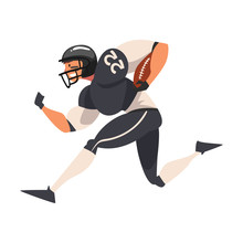 American Football Player Running With Ball, Male Athlete Character In Black Uniform And Protective Helmet In Action Vector Illustration