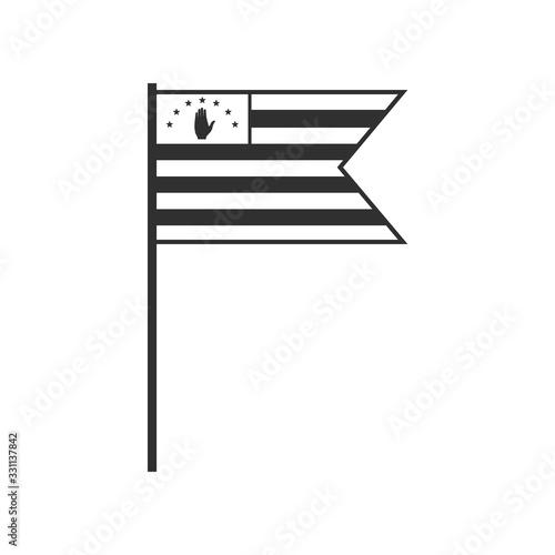 Abkhazia flag icon in black outline flat design Wallpaper Mural