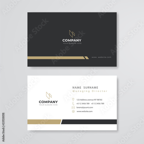 black and white business card flat design template vector
