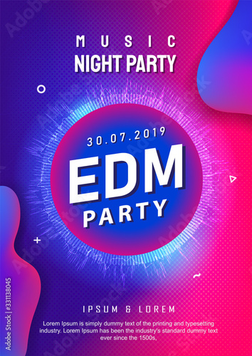 Edm party poster design electronic music background