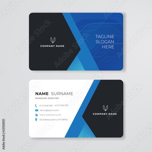 blue business card clean design vector rounded corner template