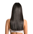 Young Asian woman with beautiful long hair on grey background