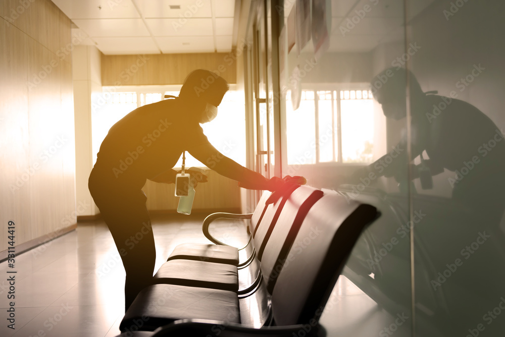 Fototapeta blurred image of housekeeper cleaning service working at office. Blur image use for background.