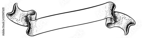 Obraz A scroll flag paper banner parchment ribbon in a vintage retro woodcut style - fototapety do salonu