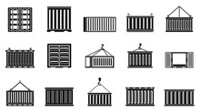 Cargo Container Ship Icons Set. Simple Set Of Cargo Container Ship Vector Icons For Web Design On White Background