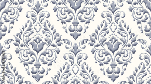 Damask seamless emboss pattern background. Vector classical luxury old damask ornament, royal victorian seamless texture for wallpapers, textile, wrapping. Vintage exquisite floral baroque template.