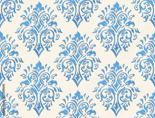 Damask seamless emboss pattern background Canvas Print