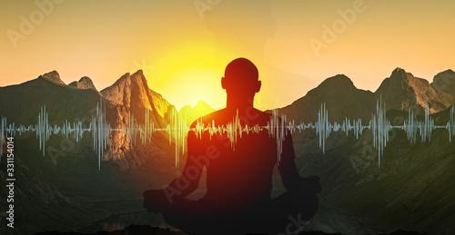 Obraz Yoga meditation illustration, silhouette of man practicing in mountains at sunset - fototapety do salonu