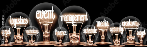 Fotografía Light Bulbs with Event Management Concept