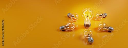 Fototapeta bulb on a yellow background. 3D rendering.