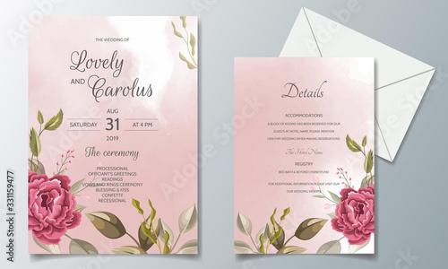 Obraz Beautiful and elegant wedding invitation card template set with floral frame - fototapety do salonu