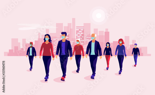 Obraz Group of people wearing protection medical face mask to protect and prevent virus, disease, flu, air pollution, contamination. Old man woman walking. Vector illustration with urban city skyline. - fototapety do salonu