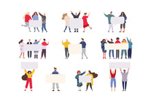 Happy Group Of Friends Standing Together And Holding Blank Banner. Flat Cartoon Colorful Vector Illustration.