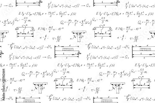 Photo Physics seamless pattern with the equations, figures, schemes, formulas and other calculations on whiteboard