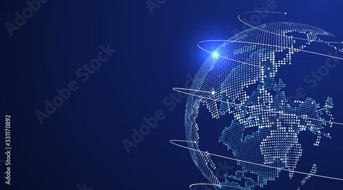 Fototapeta 3D earth graphic symbolizing global trade, vector illustration. obraz
