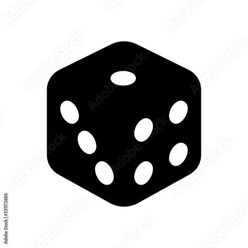 Leinwand Poster Dice cube, casino game. Black icon on white background