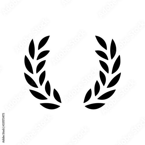 Obraz na plátne Laurel wreath, champion olive. Black icon on white background