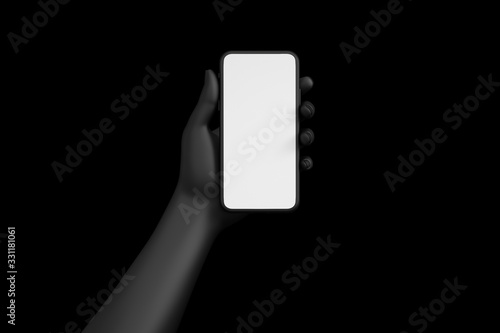 Photo Female hand holding black cellphone with white screen at isolated background