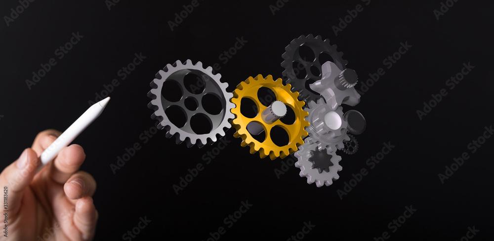 Obraz gear Technology setting concept background. fototapeta, plakat