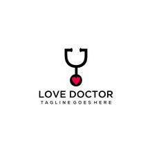 Creative Modern Doctor Sign With Stethoscope And Heart Symbol Logo Design Illustration.