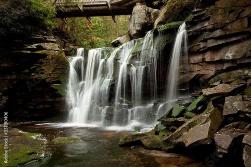 Fényképezés Beautiful Elakala Falls under a small footbridge in Blackwater Falls State Park,