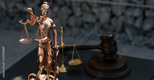 Fototapety, obrazy: Law and Justice concept image, grey stones background