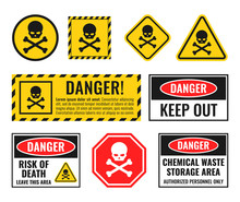 Danger Sign With Scull And Cro...
