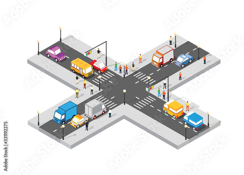 Fotomural Isometric Crossroads intersection of streets with people