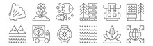 Set Of 12 Geography Icons. Outline Thin Line Icons Such As Worldwide, Waves, Delivery Truck, Backpack, Fish, Flower