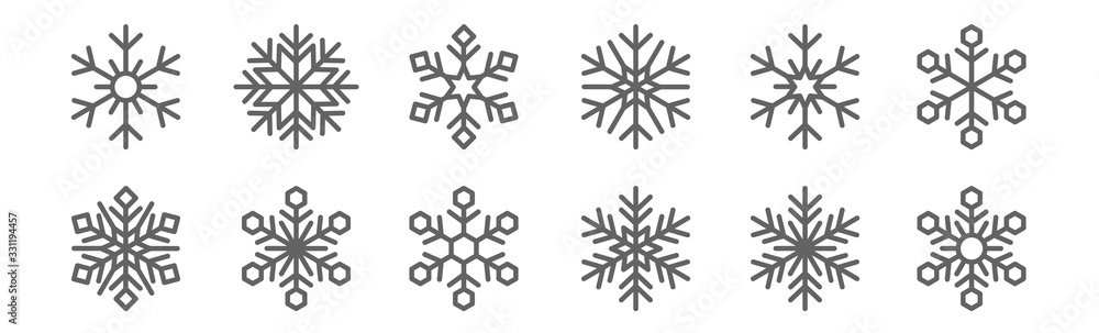 Fototapeta set of 12 snowflakes icons. outline thin line icons such as snowflake, snowflake, snowflake,